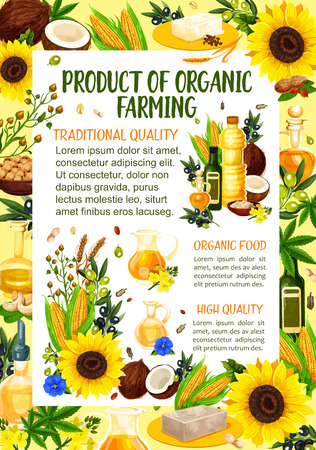Organic farm products of natural cooking oil and butter. Vector organic oil bottles with hemp, coconut or sunflower and corn vegetables, peanut or hazelnut and extra virgin olive or flax Illustration