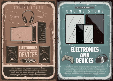Electronics, computers or multimedia, smart devices online store. Vector PC, monitor, desktop computer with Hi-Fi audio system, mobile phone and tablet Illustration