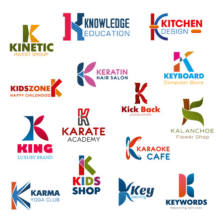 Letter K, investment, banking or education company identity. Vector K icons of flower shop, karate sport academy or yoga club and computer store or karaoke cafe, kitchen design and hair salon Illustration