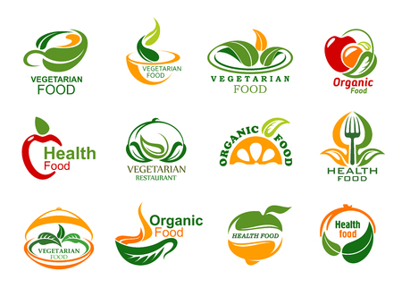 Vegetarian food icons, vegan cafe or eco food delivery company. Vector green veggie leaf or fruit and dish plate, cup symbols with fork and spoon. Organic healthy and fitness nutrition Foto de archivo - 109486192