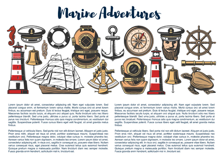 Nautical objects and sailor equipment, marine adventure and travel. Vector captain in hat with smoking pipe, lighthouse and ship helm with anchor, spyglass and boat bell, frigate sails and sextant