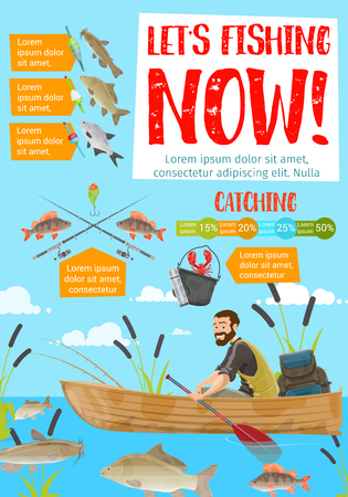 Fishing or fish catching. Vector fisherman in boat on lake with rod and tackles catching pike or catfish and lobster crab, carp and perch
