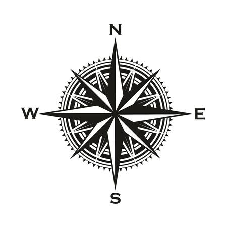 Signe de la boussole de navigation, Rose des vents avec des flèches de direction. Symbole de boussole de cartographie de navigation marine et nautique de vecteur avec des pointeurs vers le nord, le sud, l'est et l'ouest Vecteurs