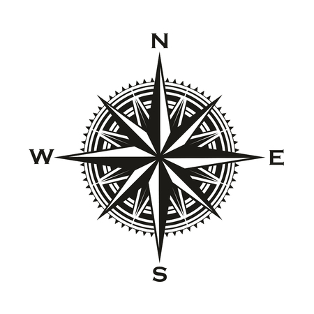 Signo de brújula de navegación, rosa de los vientos con flechas de dirección. Vector símbolo de brújula de cartografía de navegación náutica y marina con punteros al norte, sur, este y oeste Ilustración de vector