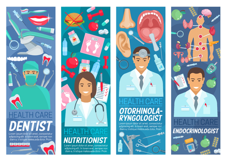 Otorhinolaryngology, dentistry or endocrinology clinic and health care nutritionist doctor medical ctaff. Vector dentist, otorhinolaryngologist and endocrinologist doctor, human organs, diagnostics and treatment