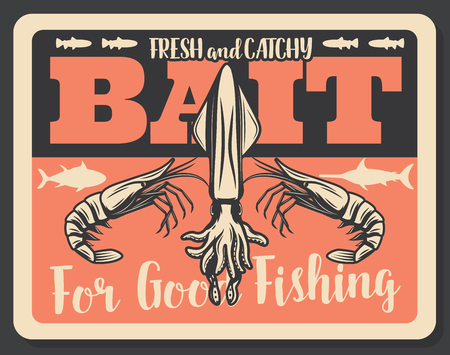 Fishing baits retro poster of fish catch. Vector seafood lobsters, shrimp prawns and squid, sea tuna and ocean marlin. Fisherman items store