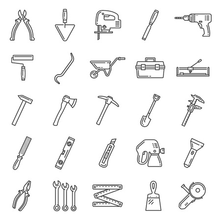 Tools lineart icons, construction and repair equipment. Vector hammer, wheelbarrow and woodwork file, grinder, plastering spatula and painting brush or sprayer, building spade and hammer in toolbox Illusztráció