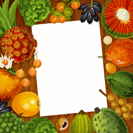 Cooking recipe or kitchen memo note in frame of exotic tropical fruits. Vector bergamot, physalis or lucuma fruit and longkong, soursop apple, mombin and pandan or tangerine with paper