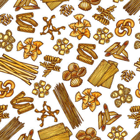 Modello di pasta italiana. Fondo senza cuciture di vettore di lasagne, fettuccine e spaghetti, penne con ravioli, conchiglie o tagliatelli e pasta funghetto