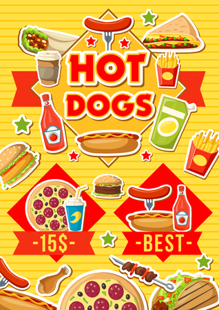 Fast food menu with pizza, hot dog or burgers and Mexican sandwiches. Vector fast food cafe or bistro burrito, sausage or taco, coffee and fries with kebab or chicken nugget grill with condiment Illustration