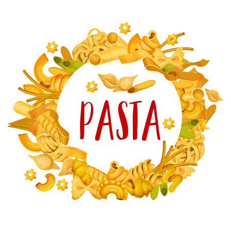 Italian pasta frame of spaghetti, ravioli or penne and tortellini, traditional gnocchi, ditalini or rotelle maccheroni. Italy cuisine or pasta restaurant menu vector banner Illustration