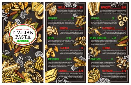 Menu del ristorante di pasta italiana. Disegno vettoriale conchiglie, pennette o gnocchi e rotini, farfalle fatte in casa, tortiglioni o lasagne e manicotti con penne tricolore