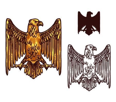 Icono de esbozo de águila gótica de grifo dorado heráldico con pico, alas extendidas y garras. Vector vintage gryphon buitre pájaro místico silueta para emblema real, símbolo de escudo o escudo de armas