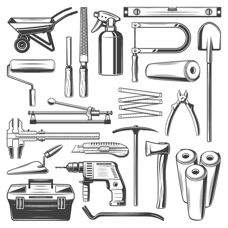 Work tools icons. Carpentry, painting and plastering, construction and woodwork. Vector construction and building tools hammer, wheelbarrow and file, spade and wallpapers, toolbox and ruler Illusztráció