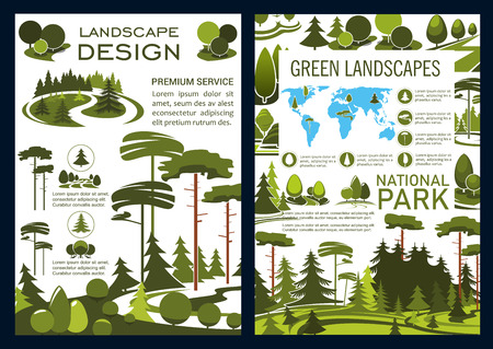 Landscape design and green horticulture service company brochure, park and garden landscaping. Vector forest, parks and garden, trees on world map. Urban ecology gardening and planting Banco de Imagens - 109486255