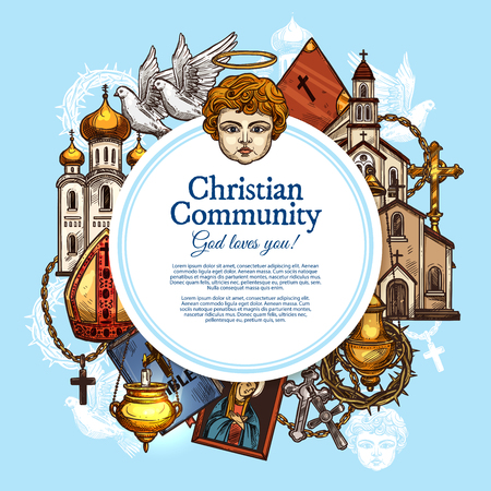 Christian religious community, religion symbols. Vector Catholic, Protestant or Orthodox, Evangelic or Baptist church, angel, pope bishop mitre and crucifix cross, bible and Jesus thorn crown