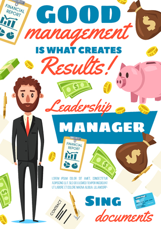 Business manager, clerk or successful leader of business company. Vector financial director in office suit with money in piggybank, contract, credit card and dollar investments Ilustração