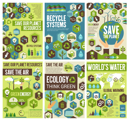Save planet, protect earth air, nature environment. Vector recycling and natural energy sources, global warming protection and think green ecology project Foto de archivo - 128161437