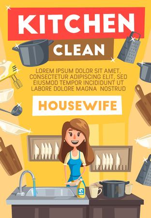 Kitchen cleaning or housewife service. Vector cartoon woman at kitchen washing utensil, dish plates and cups, mixer and saucepan in sink and dishwasher