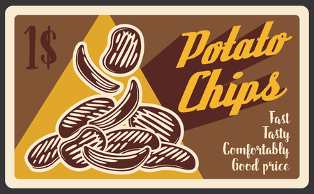 Fast food potato chips poster, restaurant or bistro snacks menu. Vector fried potato signboard, fastfood delivery or takeaway cafe