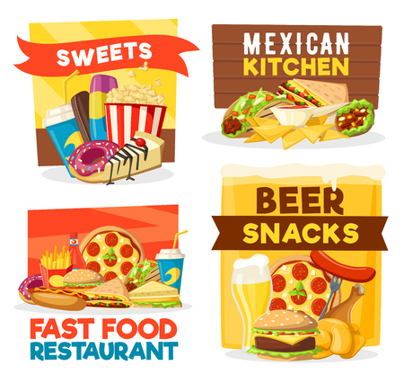 Fast food icons of Mexican cuisine, pizzeria or beer bar and sweet desserts. Vector burrito burger, pizza or hot dog and fries with donuts and chicken grill for menu Illustration
