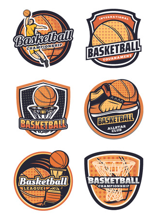 Basketball league, championship or tournament, sport team badges. Vector icons of basketball ball in basket net goal, player and sneakers, victory cup game contest Illustration