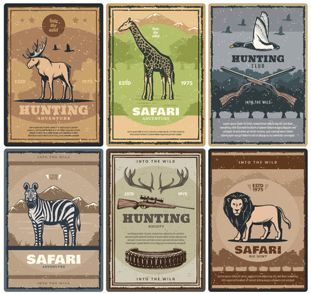 Hunting adventure of african safari. Vector vintage design of hunter rifles and bullets, elk antlers, giraffe or duck bird, zebra and lion Vettoriali