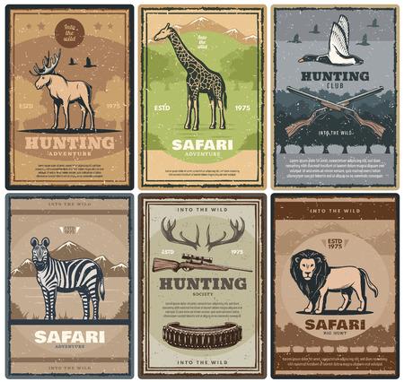 Przygoda myśliwska afrykańskiego safari. Wektor wzór myśliwski karabiny i kule, poroże łosia, ptak żyrafa lub kaczka, zebra i lew