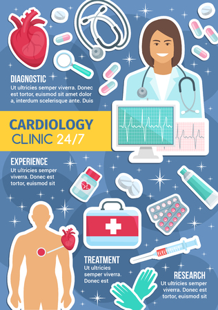 Cardiology clinic and everyday service. Vector cardiologist doctor with heart pulse on cardiogram, cardio treatment pills or first aid kit, human heart and syringe with stethoscope Illustration