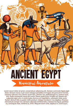 Ancient Egypt sketch travel adventure of Egyptian gods, deity and Pharaoh religious culture symbols. Vector Amon Ra or Anubis and Thoth with cow goddess, stork and Horus eye