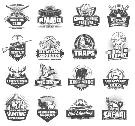 Hunting club symbols and wild animals icons, hunter open season adventure. Vector ammo rifle fun or knife and binoculars with trap, duck, elk or deer antlers and african safari zebra or lion Illustration