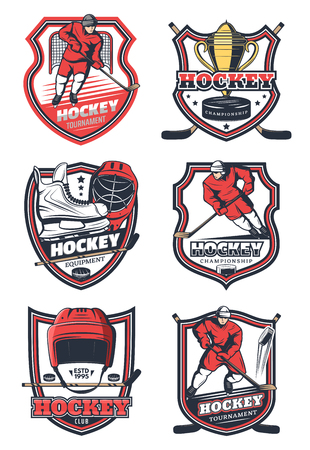 Ice hockey championship, college league cup and sport game club badges. Vector icons of hockey player or goalkeeper with stick, puck or skates and trophy on ice rink arena