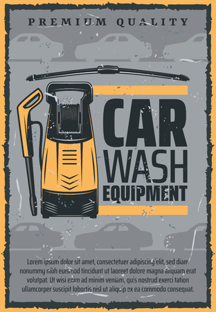 Car wash equipment advertisement, auto service station. Vector vacuum cleaner with glass scrape or washer, upholstery cleaning and premium vehicle garage service Illustration