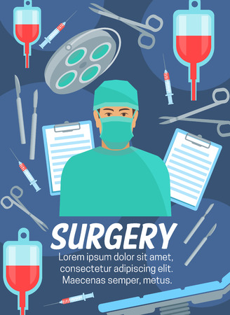 Surgery medicine. Cardiology, orthopedics or traumatology treatment. Vector surgeon doctor with medical equipment operating table, scissors or scalpel, blood dropper and syringe