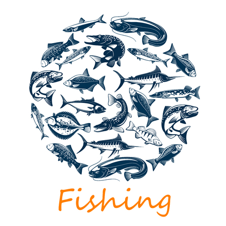 Pesca sportiva, di pesce di mare e oceano per il pescatore o il tema dell'avventura sportiva. Vector scad o sugarello, scomber o acciughe e tonno, sardine e branzino, orata