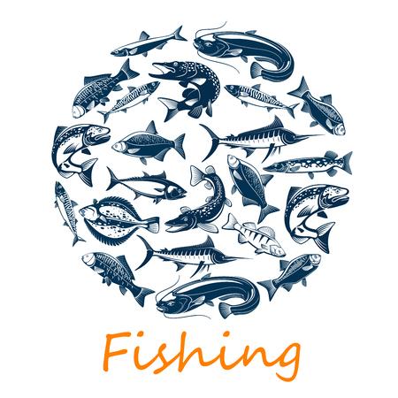 Sport de pêche, de poissons de mer et d'océan pour la capture de pêcheur ou le thème de l'aventure sportive. Chinchard de vecteur ou chinchard, scomber ou anchois et thon, sardine et bar, poisson dorada