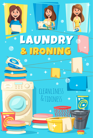 Laundry and ironing home service poster. Vector woman with washing machine, iron and shirts or bed clothes, water bucket and basin with soap or detergent bubbles Illustration