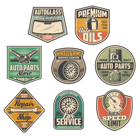Car service, repair station, vehicle spare parts shop icons. Vector autoglass sale, premium engine oil and spark plugs, motor valve, tires and rims replacement or speed limit sign