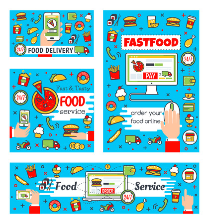 Fast food delivery and online fastfood restaurant order. Vector customer buy and purchase on computer or smartphone. Burgers, pizza and sandwiches delivery Illustration