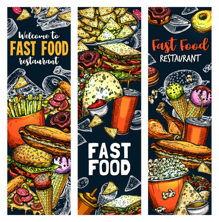 Fast food sketch of snacks, burgers, desserts and drinks for bistro bar and fastfood restaurant menu. Vector cheeseburger, ice cream or donut with soda and popcorn, hot dog and chicken legs Ilustração