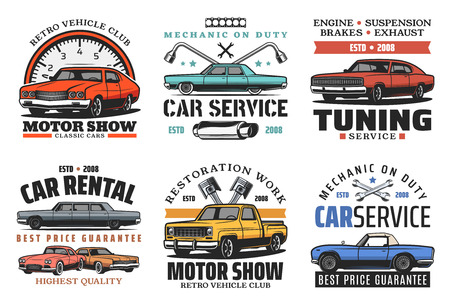 Car service, tuning or restoration icons. Garage station. Vector off-road vehicle and outdoor adventure, retro car and auto parts vintage symbols and wrenches Illustration