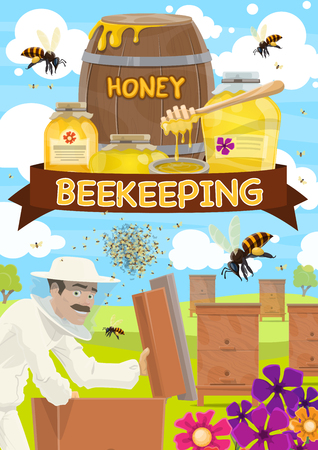 Beekeeping, apiary and beekeeper. Farmer collecting honey from beehive with bees swarm flying around on beekeeping farm. Vector jars and barrels or honeycombs full of natural product Illustration