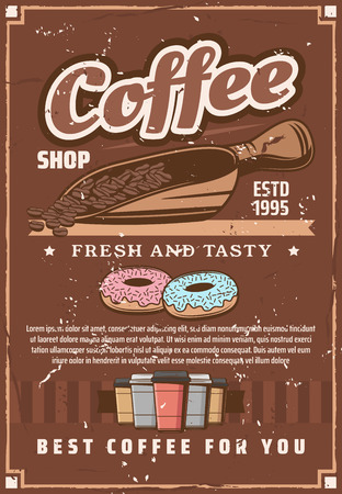 Coffee house. Beans on scoop to prepare espresso, cappuccino, americano. Cafeteria, bar or cafe signboard in vintage style. Hot beverage or drink and dessert of donuts in glaze vector Ilustração