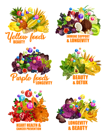 Color diet with fruits, organic food vitamins. Beauty, immune support and longevity, detox and heart health. Cancer prevention vector fruits and vegetables, organic grocery, nutrition consumption Illustration