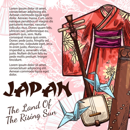 Japan travel poster with silk geisha kimono, samisen and koto musical instrument and origami in shape of crane bird sketches. Oriental culture attributes on journey or tour abroad, vector 向量圖像