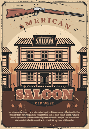Wild West saloon or sheriff office or old bar, gun or rifle. American historical period of cowboys vintage design with wooden building and weapon, retro style vector
