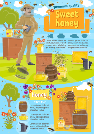 Beekeeping, apiary and beekeeper. Man in protective suit and jars or barrels of honey, bees swarm flying around flowers, beehives. Apiculture farm producing natural product, vector