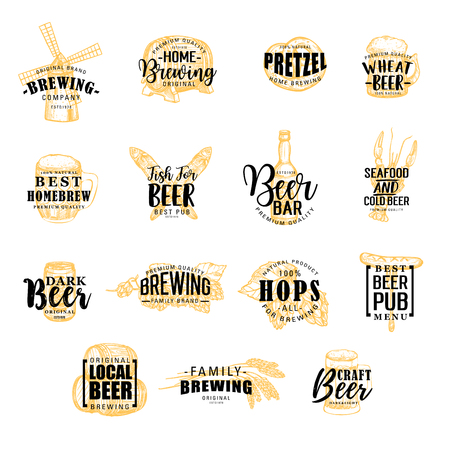 Brewery and beer pub icons. Bottle and mill, hops, barrel, pretzel and fish, crayfish or lobster and wheat spikes, mall and sausage silhouettes, snacks and drinks with vector lettering