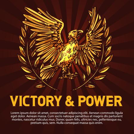 Sieg und Machtadler, Heraldik. Vektor mythischer Vogel mit goldenem Gefieder oder Federn und Lorbeerkranz. Griffin mit ausgebreiteten Flügeln als Symbol der Stärke, Olivenkranz