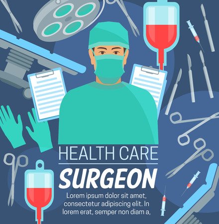 Surgeon profession, medical center or clinic service. Vector surgery table and doctor in mask, scissors or scalpel and blood transfusion dropper, surgery rubber gloves and sterile syringe